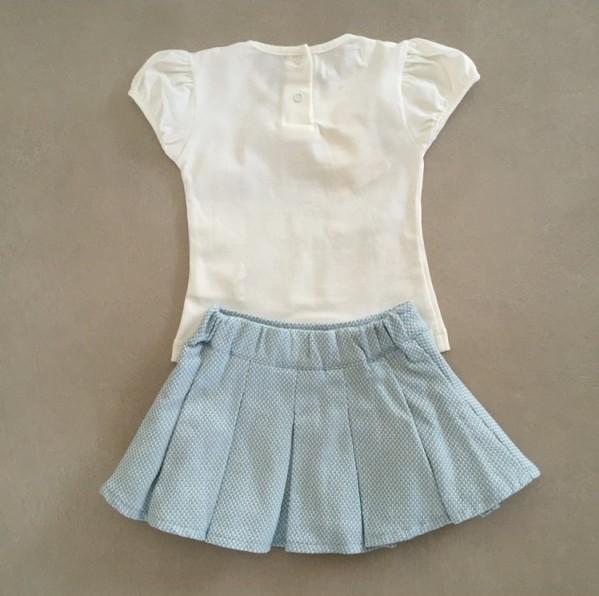 Conjunto Infantil Top e Saia em Tweed Azul