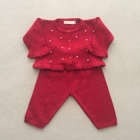 Conjunto Infantil Vermelho com Calça e Casaco de Babados e Pérolas