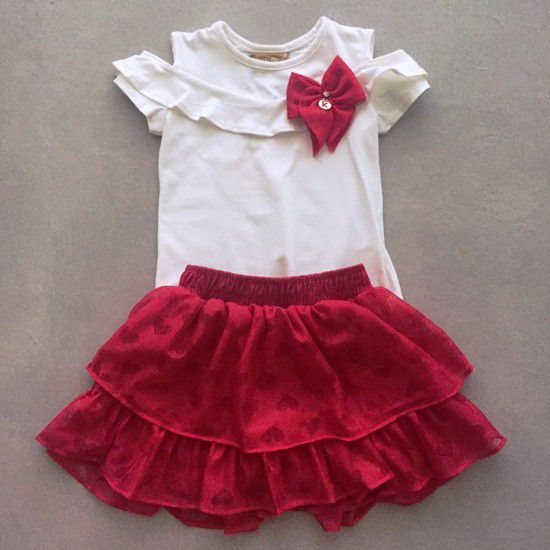 Conjunto Le Petit Kukiê Blusa e Saia Rendada Vermelha