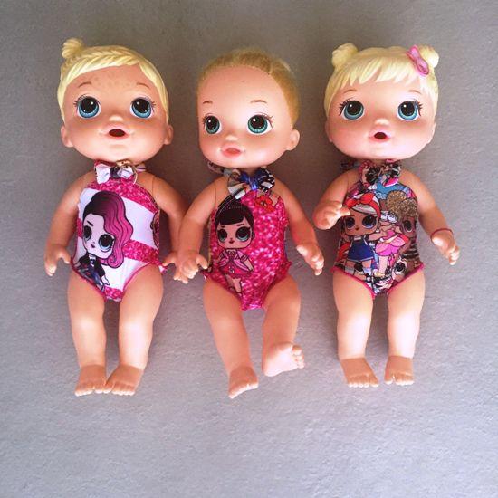 Maiô Boneca Surpresa Rosa e Dourado para Bonecas