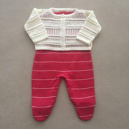 Saída De Maternidade Em Tricot Com Casaco Rendado Marfim E Pink