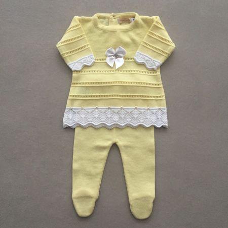 Saída De Maternidade Em Tricot Com Vestido Laço Amarelo