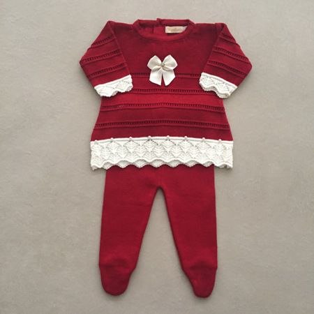Saída de Maternidade em Tricot com Vestido Laço Vermelho