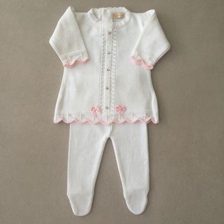 Saída de Maternidade em Tricot com Vestido Pontos Bordados Branca e Rosa