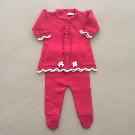 Saída De Maternidade Em Tricot Com Vestido Pontos Bordados Pink