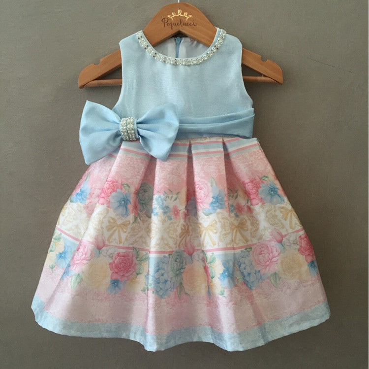 Vestido De Festa Bebê Floral Azul Petit Cherie