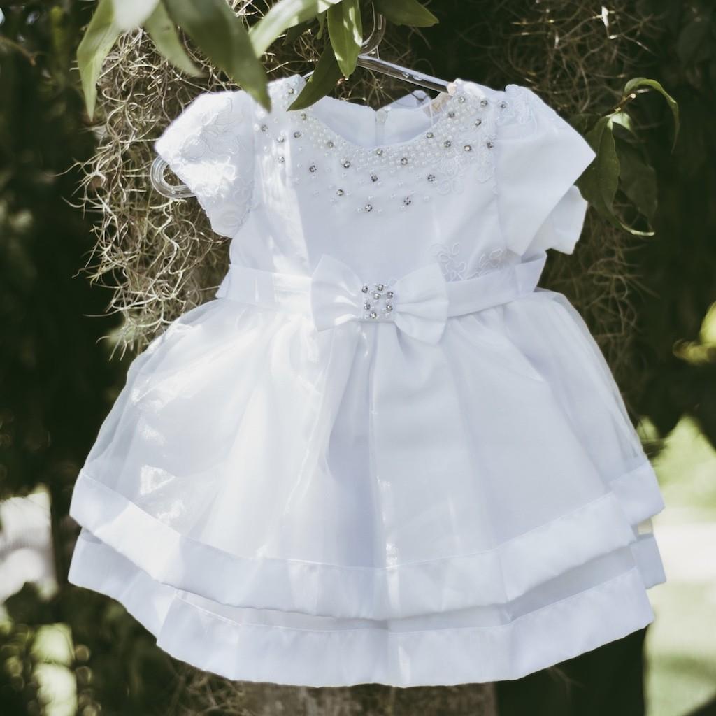 Vestido De Festa Infantil Luxo Branco Petit Cherie