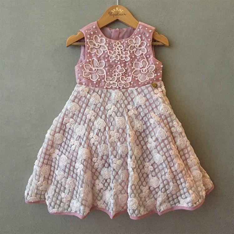 Vestido de Festa Infantil Ninali Em Organza Bordada Com Flores