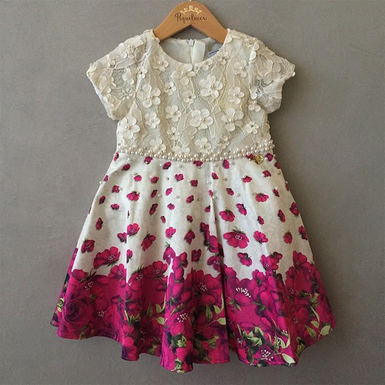 Vestido de Festa Infantil Ninali Marfim Floral