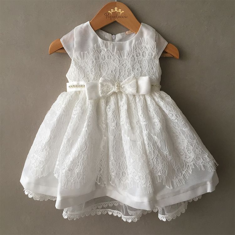 Vestido De Festa Infantil Offwhite Luxo Petit Cherie