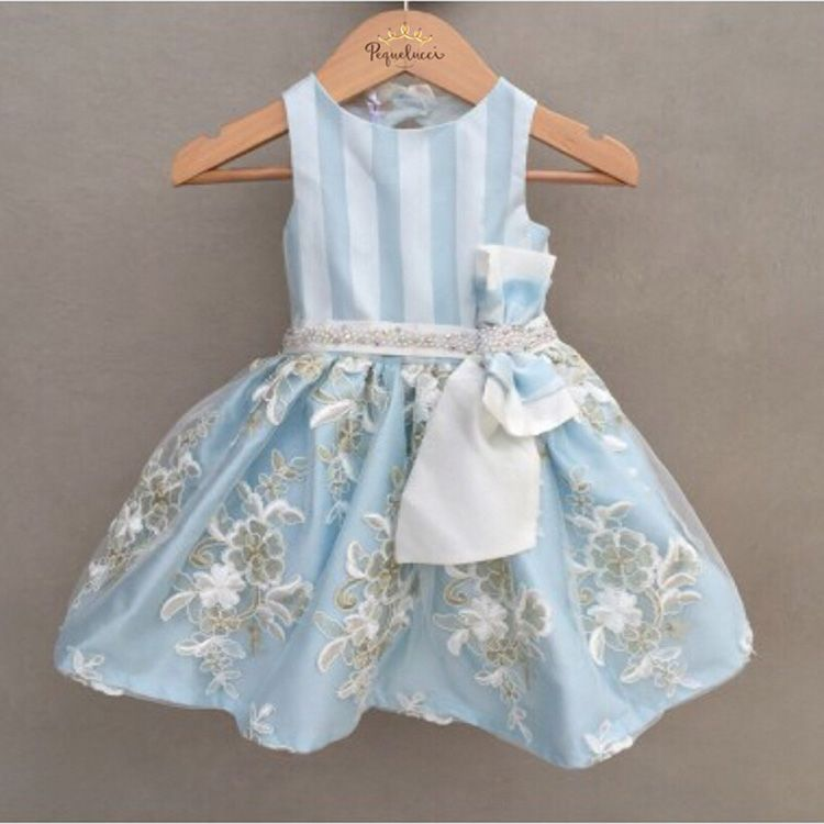 Vestido De Festa Infantil Petit Cherie Azul Luxo