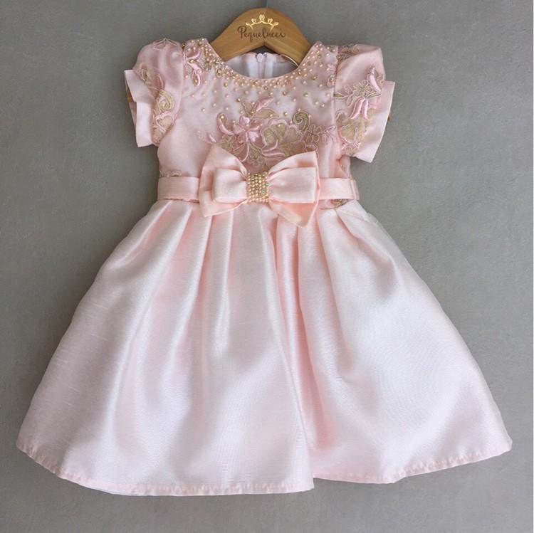 974f82644bc Vestido De Festa Infantil Petit Cherie Em Cetim Canelado Rosa