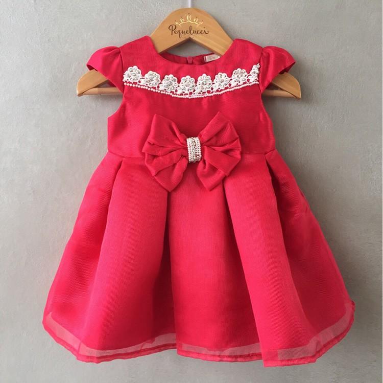 Vestido De Festa Infantil Petit Cherie Em Cetim Canelado Vermelho