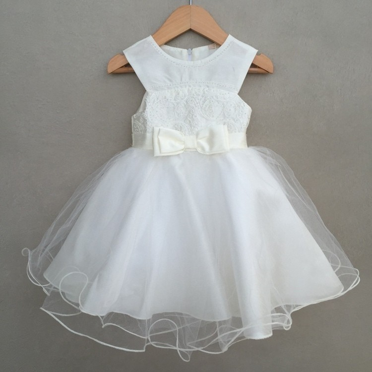 Vestido De Festa Infantil Petit Cherie Em Cetim Off White