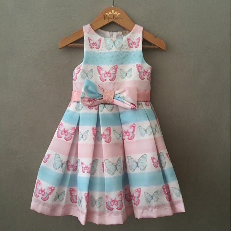 Vestido De Festa Infantil Petit Cherie Em Tafetá Borboletas