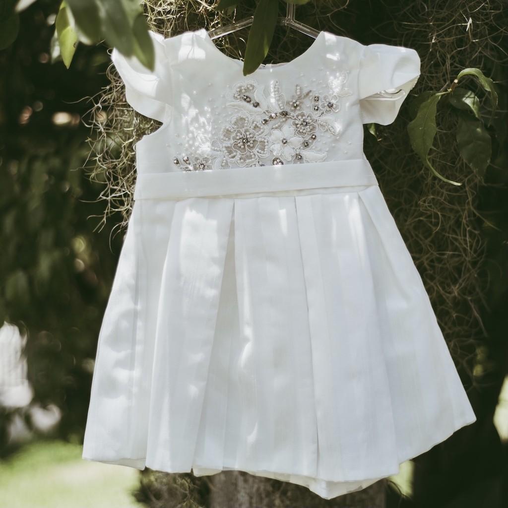 Vestido De Festa Infantil Petit Cherie Em Tafetá E Organza Off White