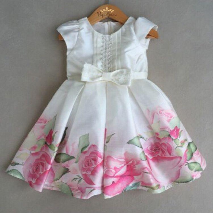Vestido De Festa Infantil Petit Cherie Em Tafetá Floral