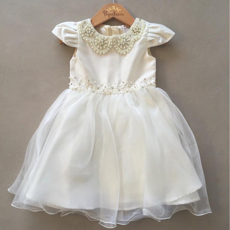 Vestido De Festa Infantil Petit Cherie Em Tafeta Off White