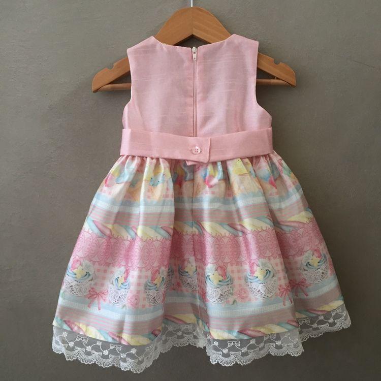 Vestido De Festa Infantil Petit Cherie Em Tafetá Rosa Com Barrado Em Renda