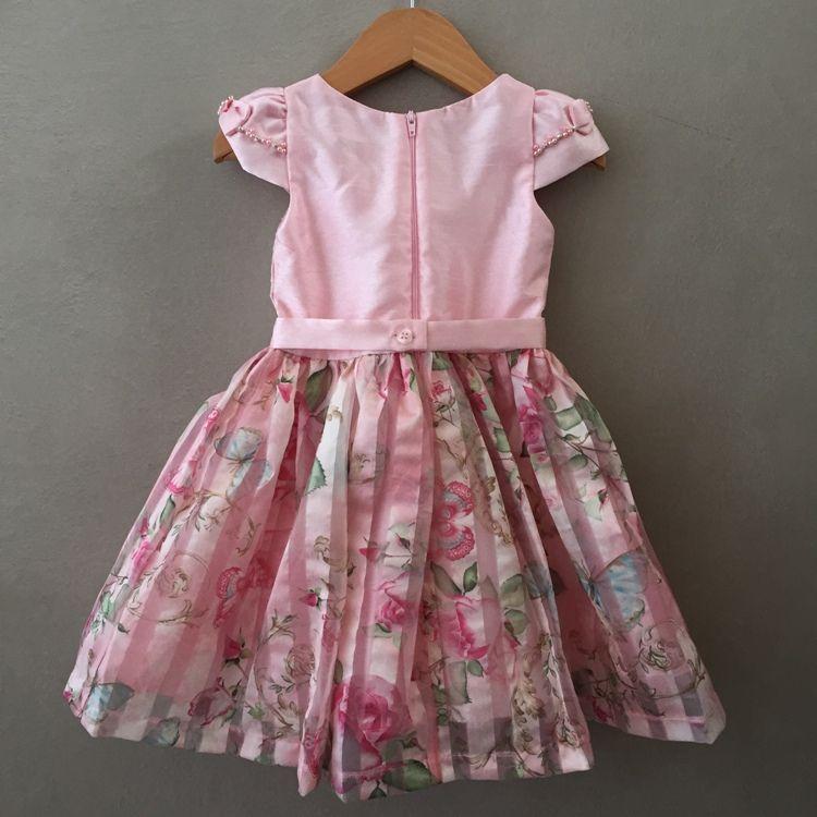 Vestido De Festa Infantil Petit Cherie Em Tafetá Rosa E Organza Floral
