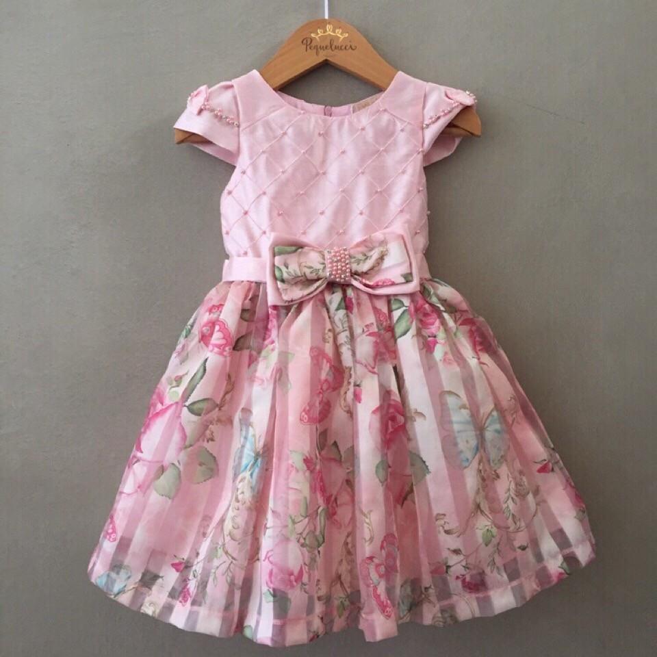 692f75b7185 Vestido De Festa Infantil Petit Cherie Em Tafetá Rosa E Organza Floral