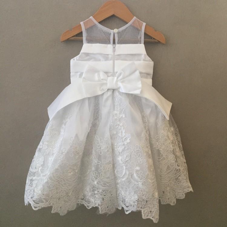 Vestido De Festa Infantil Rendado Luxo Branco Petit Cherie