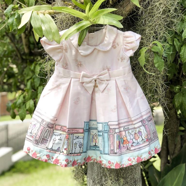 Vestido De Festa Infantil Roana Em Cetim Rosa Com Pedrarias