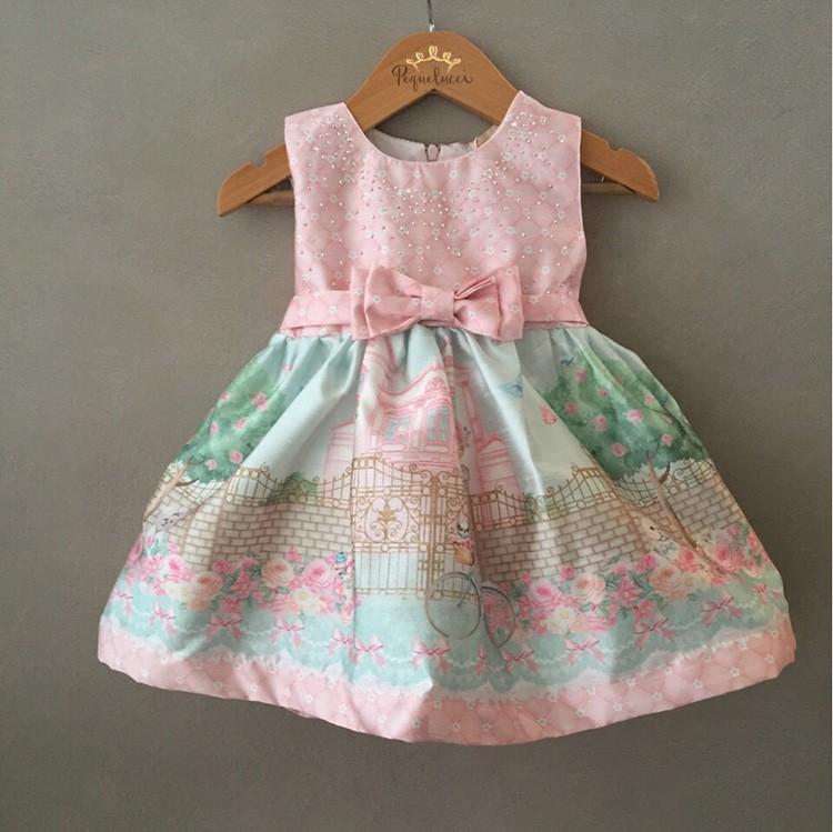 Vestido De Festa Infantil Rosê E Verde Petit Cherie