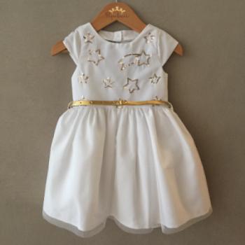 Vestido de Festa Mon Sucré Branco e Dourado