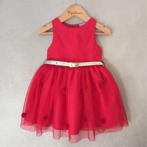 Vestido de Festa Mon Sucré Vermelho com Pompons