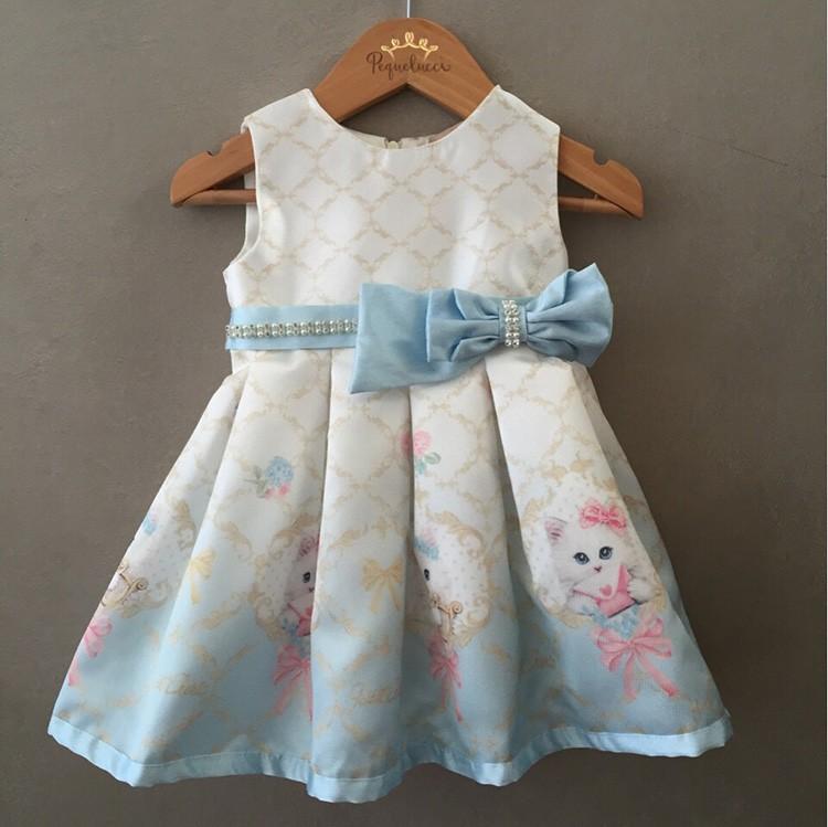 Vestido De Festa Petit Cherie Azul Gatinhas