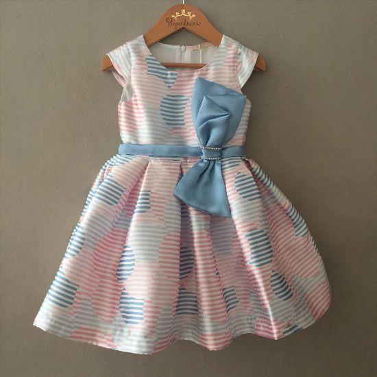 Vestido de Festa Petit Cherie Balões em Cetim Canelado Rosa e Azul