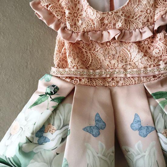 Vestido de Festa Petit Cherie em Cetim e Renda Guipir Rosê Floral