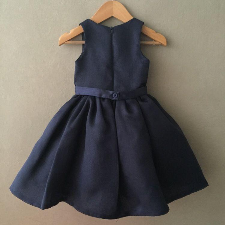 Vestido Infantil De Festa Em Tafetá Canelado Azul Marinho Com Strass Petit Cherie