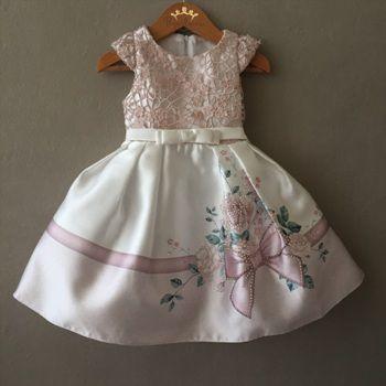 Vestido de Festa Petit Cherie em Tafetá e Renda Offwhite e Rosê