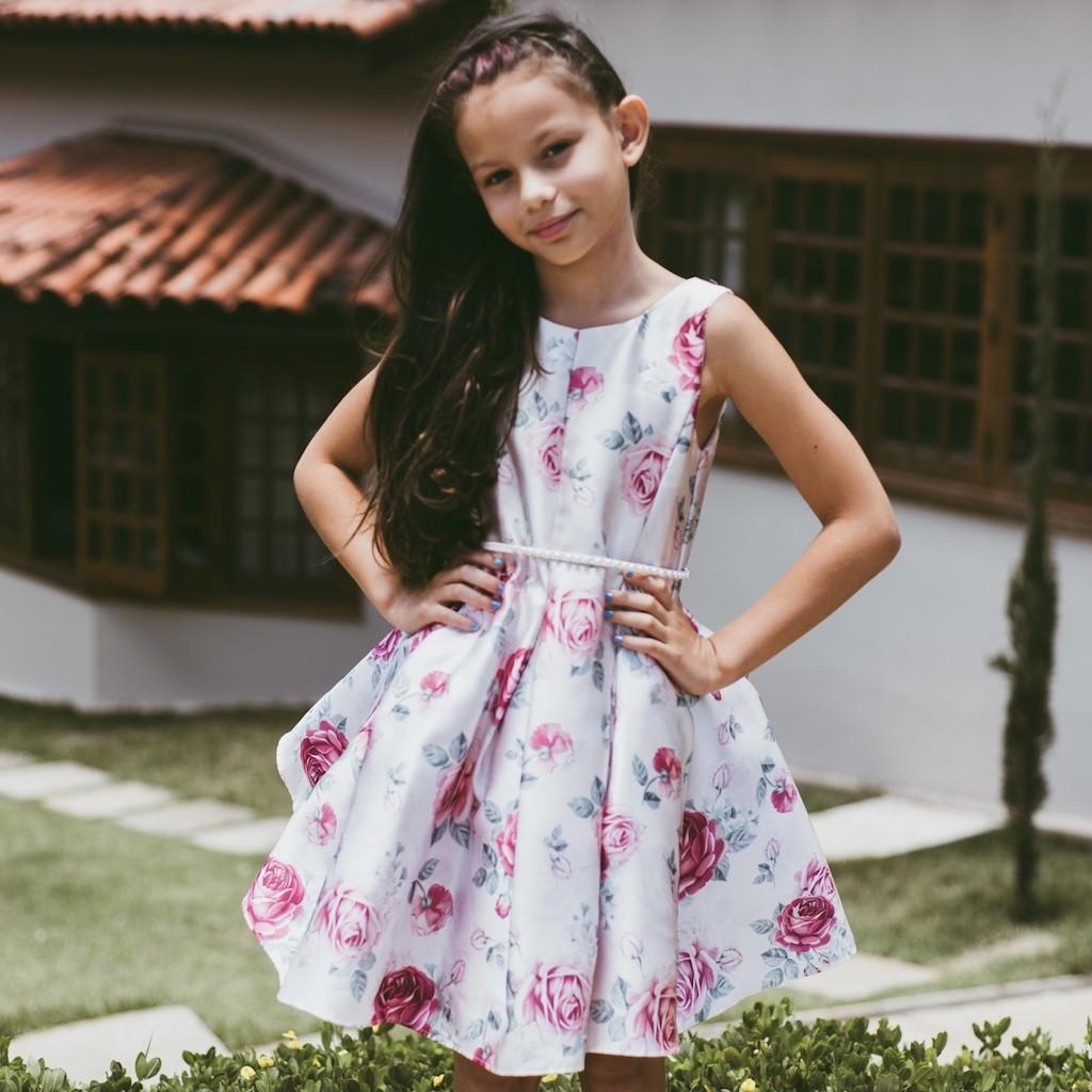 Vestido de Festa Petit Cherie em Tafetá Floral Rosa e Vinho