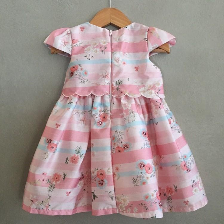 Vestido de Festa Petit Cherie em Tafetá Rosa Floral