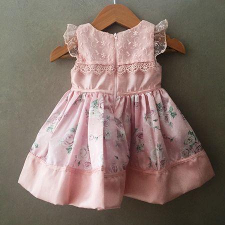 Vestido de Festa Petit Cherie em Tafetá Rosê com Renda Baby