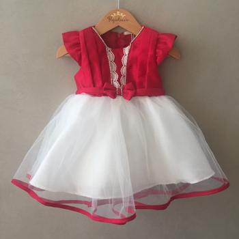 Vestido de Festa Petit Cherie em Tafetá Vermelho e Offwhite Baby