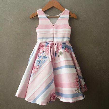 Vestido de Festa Petit Cherie Floral Rosa e Azul