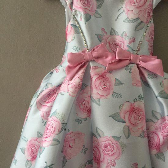 Vestido de Festa Petit Cherie Floral Verde e Rosa