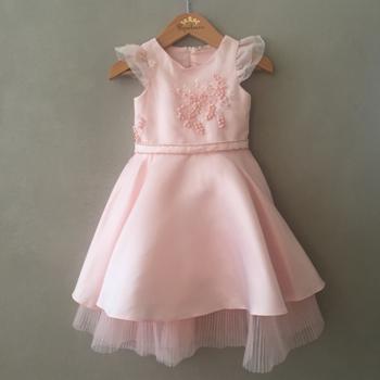 Vestido de Festa Petit Cherie Luxo Rosa em Cetim e Tule Bordado