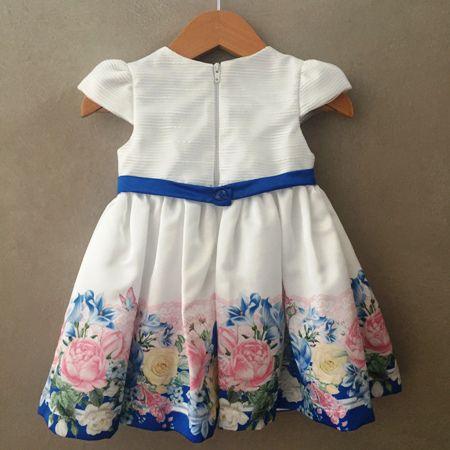 Vestido de Festa Petit Cherie Offwhite e Azul Floral Baby