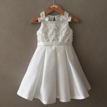 Vestido de Festa Petit Cherie Offwhite em Tafetá e Organza Bordado