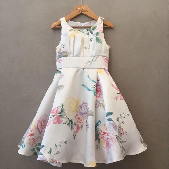 Vestido de Festa Petit Cherie Offwhite Floral