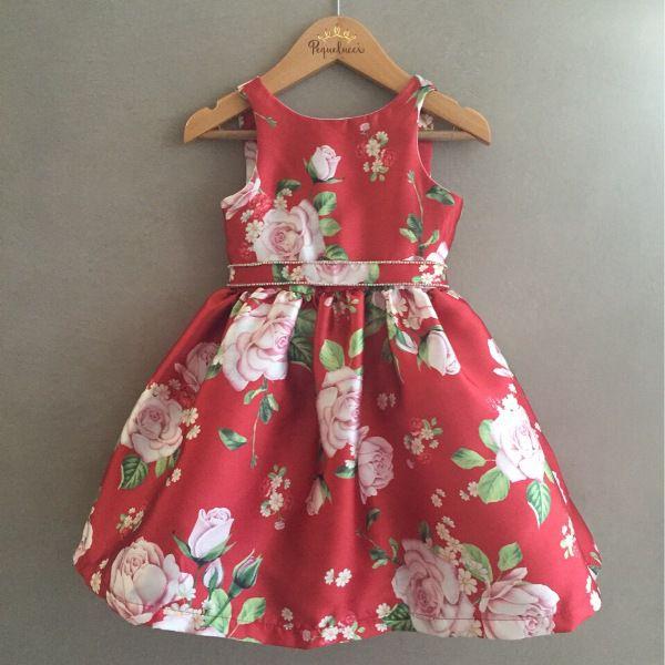 Vestido de Festa Petit Cherie Vermelho Floral