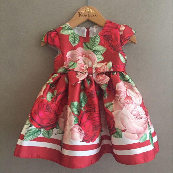 Vestido de Festa Petit Cherie Vermelho Floral Baby