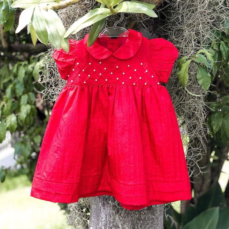 Vestido de Festa Póssum em Tafetá Vermelho