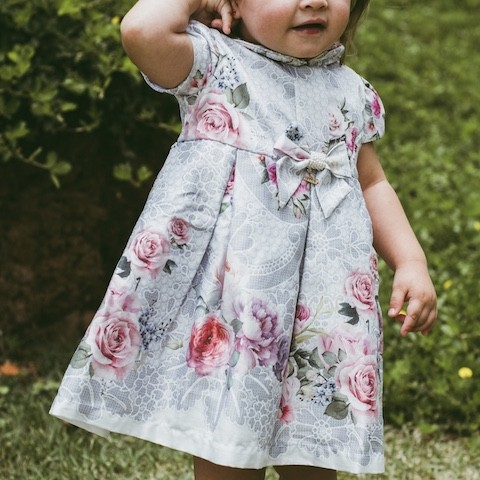 Vestido de Festa Roana em Cetim Cinza Floral Luxo