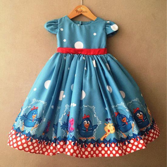Vestido de Festa Rodado Galinha Azul
